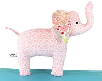 Baby Girl Cloth Elephant Toy with Rattle - Light Pink with  Floral Ear - Baby - Toddler -  Child Friendly - New Baby Gift