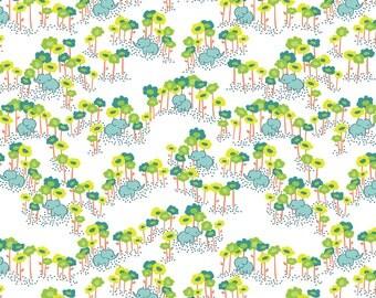 ON SALE Baby Elephants Fabric - Pygmy Elephants Blue by Katy Tanis - The Sundaland Jungle Collection - Blend Fabrics - One Yard Fabric