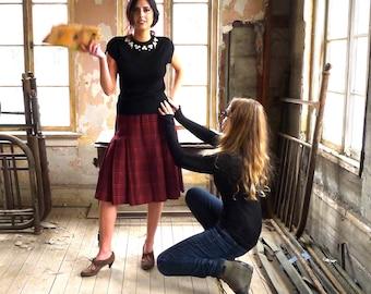 "Red and Black Plaid Wool Skirt 28"" Waist"