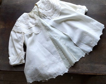 Antique Embroidered Child's Special Occasion Spring Jacket 3 to 5 Year Old