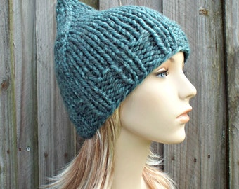 Turquoise Blue Gnome Hat Chunky Knit Hat Womens Hat - Blue Hat Blue Beanie Blue Gnome Beanie Womens Accessories Winter Hat - READY TO SHIP