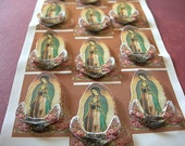 3D Sticker Sheet Virgin of Guadalupe lot of 12 Blessed Mother Mary 3 dimensional