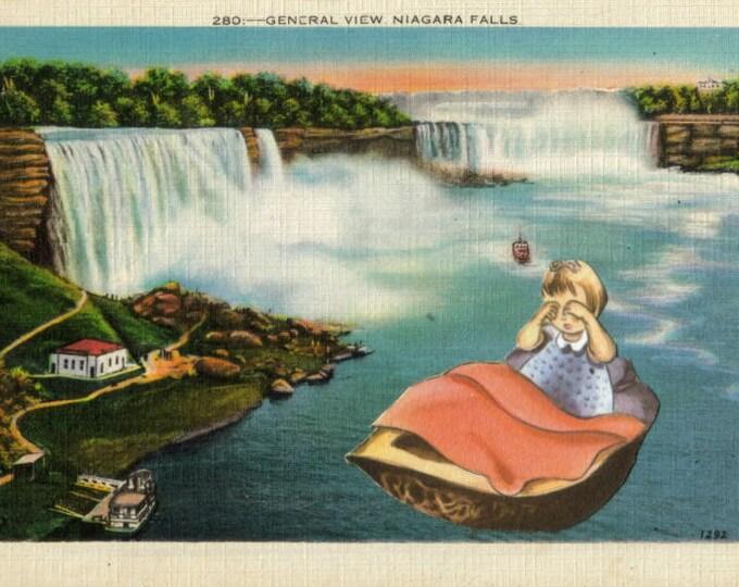 Niagara Falls Artwork, Original Waterfall Art Collage