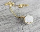 White Gemstone Necklace, Druzy Quartz Necklace, Gold Necklace, Wire Wrap Necklace, Small Pendant Necklace, Circle Necklace