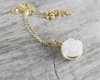 White Gemstone Necklace, Druzy Quartz Necklace, Gold Necklace, Wire Wrap Necklace, Small Pendant Necklace, Circle Necklace