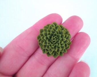 moss green 25mm mum flower cabochons, big chrysanthemum cabs, E254