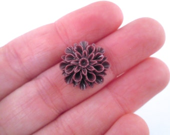 10 wine low proflile 15mm mum flower cabochons, cute chrysanthemum cabs