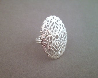 Oval adjustable filigree rings, silver plated, ON SALE, A280