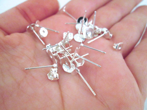 6mm flat pad silver plated ear studs with ear nuts, pick your amount, C197