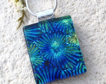 Petite Blue Green Necklace, Dichroic Necklace, Dichroic Pendant, Fused Glass Jewelry, Dichroic Glass Jewelry, Silver Necklace,  110116p102