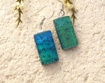 Petite Earrings, Blue Green Earrings, Dichroic Earrings, Dangle Drop Earrings, Blue Ombre Dichroic Earrings, Fused Glass Jewelry, 00316e106