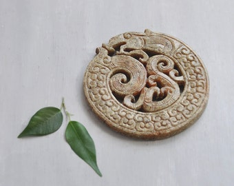 BIG Carved Stone Dragon Disk - large 75mm round serpent pendant - jewelry making supplies
