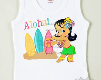 Pool Party Shirt - Hula Girl Shirt - Birthday Tiki Tank - Girl Beach Party - Toddler Pool Party - Surfboard Pool Party - Retro Beach Tank