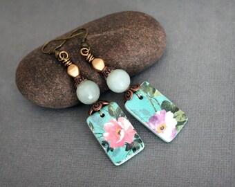 Vintage inspired Artisan earrings. Vintage flowers, teal dangle earrings. Handmade polymer clay drops, antiqued copper, brass