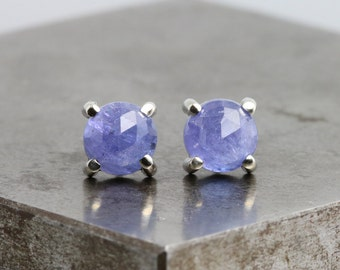 Small 14k White Gold Studs with 6mm Natural Blue Tanzanite Stones - Rose Cut Round Purple Stud Earrings - Gold Gemstone Studs  READY TO SHIP