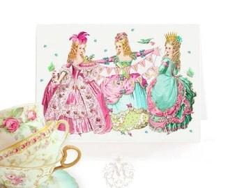Marie Antoinette happy birthday card, blank inside