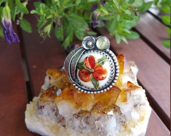 HUGE SALE!  Now HALF Price! Tropical Floral Tiger Lily & Sterling Glass Ring