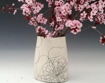 Large Ceramic Vase with Peony Flower