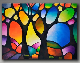 Giclee Print on Canvas from my Abstract Tree Painting, Geometric Landscape, Stained Glass Painting