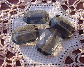 Smoky Fog Grey Topaz Facetted Vintage Lucite Beads