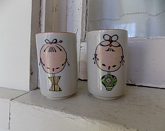 Vintage Saki Cups Japanese Kokeshi
