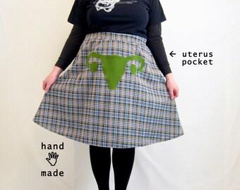 Uterus Skirt -- navy grey plaid vintage knit poly fabric -- plus size, size 22, 22W, 2X, xxl -- Feminist Fashion -- 43W-59H