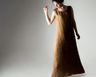 Linen tunic, Maxi dress, Linen dress, Boho dress, Bohemian dress, Tunic dress, Brown dress, Summer dress, Plus size dress, Womens clothing,