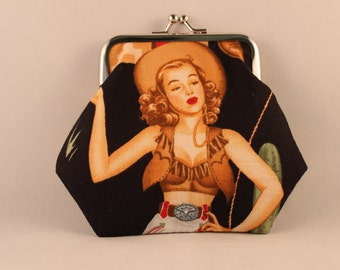 Pin Up Cowgirls Clasp Kisslock Change Coin Purse