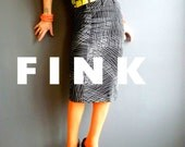 After the Fall  - iheartfink Handmade Hand Printed Womens Unique Fitted Wearable Art Black White Print Jersey Pencil Skirt