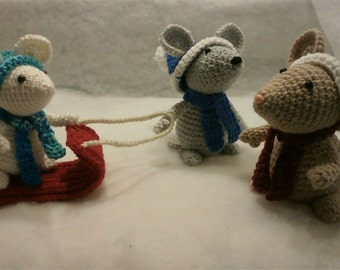 Winter Mouse Family - Cute Stuffies, Three Mice plus Sled