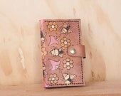 iPhone 6 Wallet -  Leather iPhone 6 Plus Case in the Meadow pattern with flowers and bees - Pink and antique mahogany - iPhone 5 6 or 6+