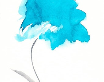"Sky blue watercolor flower art print: ""Sailing Away"""