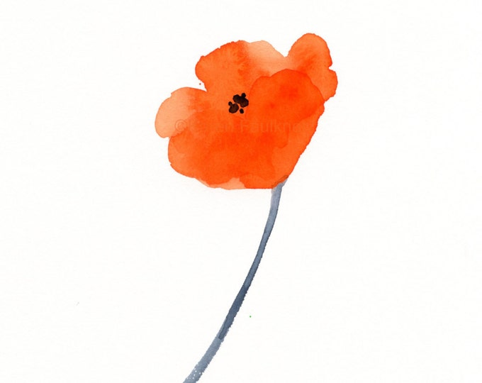 "Watercolor flowers, original watercolor painting: ""An Orange Poppy"""