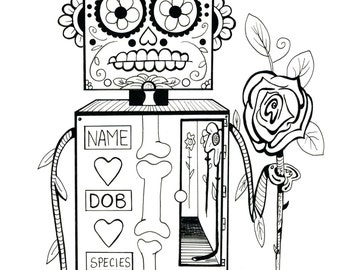 Coloring Art Print Robot #6 Condolence Bot 11x17 Poster Art For You To Color and Frame with FREE Markers
