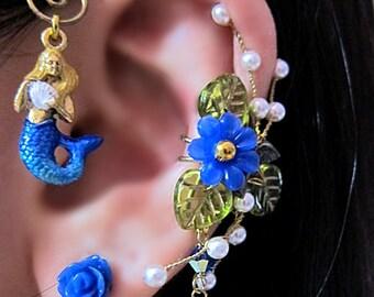 Mystical Blue Mermaid With Seashell Ear Wrap, Ear Cuff And Flower Stud Earring Nautical Ocean Fantasy Ear Vine Sea Gold Fairy Jewelry