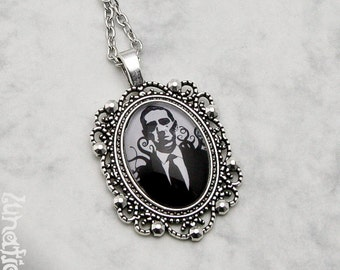 H. P. Lovecraft Cthulhu Necklace Fashion Jewelry Gothic Goth Fantasy Literature Steampunk Pendant Glasscabochon Dark Handmade