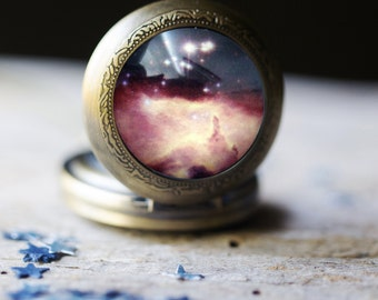 Stars in Scorpius Pocket Watch Necklace - Outer Space Jewelry, Pocketwatch Locket Pendant - Galaxy Jewellery - Nebula Wedding Gift