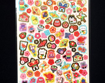 Lucky Cat Stickers - Japanese Washi Stickers - Traditional Japanese Stickers -  New Year Symbols Stickers S149