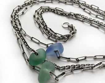 Seaglass Lake Erie Beach Glass Necklace Aqua Teal Blue Sterling Silver Chains Triple Trio 19 Inch