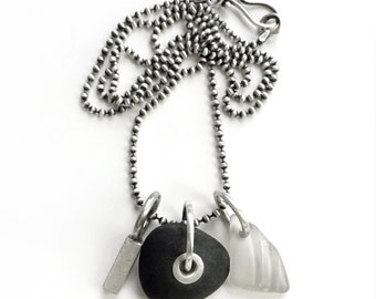 Sterling Silver Seaglass Tube Rivet Lake Erie Beach Stone Long Necklace Customizable Bar Charm Tag 30 Inch Bead Chain