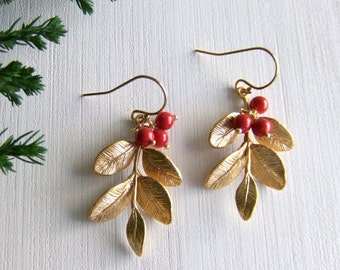 Red Berry Tree Jewelry Earrings - Red Berries - 16k Gold Plated Leaves / Gold Filled Earrings - Leaf - Woodland Jewelry - Gift for Her