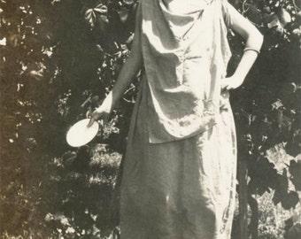 vintage photo 1926 Young Flapper Anna Tamborine Gypsy Toga Costume