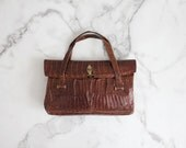 reptile handbag / crocodile tote bag / 1930s handbag