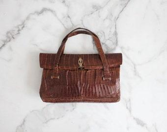 reptile handbag / crocodile tote bag / 1930s handbag