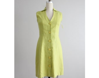 linen dress / lime green dress / linen dress woman