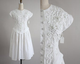white linen dress / soutache dress / full skirt dress