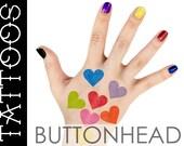 Rainbow Hearts Temporary Tattoos - Rainbow Halloween Costume - My Little Pony - Rainbow Brite Costume Accessories