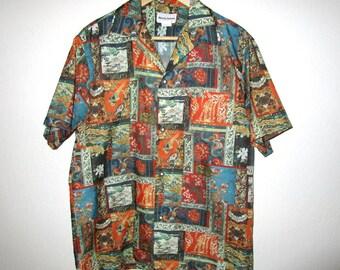Liberty House of Hawaii Shirt - Vintage 1970's - Men's M Medium - Multi-colored Asian Floral and Bird Textile Photoprint - Hawaiian Shirt