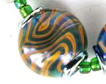 Green and Ivory lenil lampwork glass beads SRA set of 6 made by pearly karpel MTO Lampwork Beads glass beads