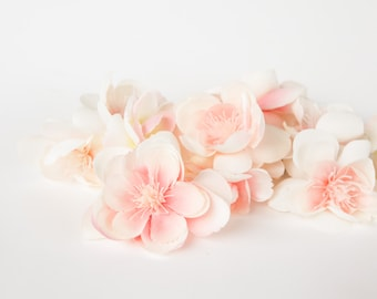 Silk Artificial Flowers - 10 Wild and Whimsy Rose Blossoms in Pink and White- Silk Flowers, Artificial Flowers - ITEM 0850